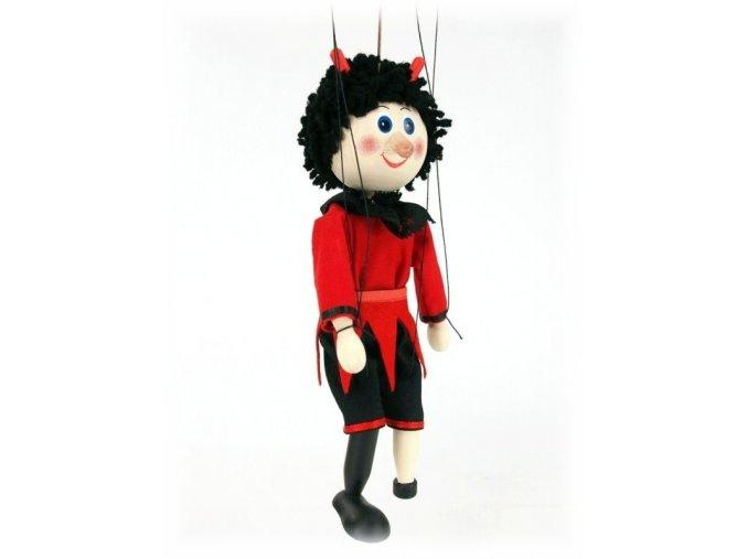 Dřevěná loutka - hračka ze dřeva - Čert červený plášť
