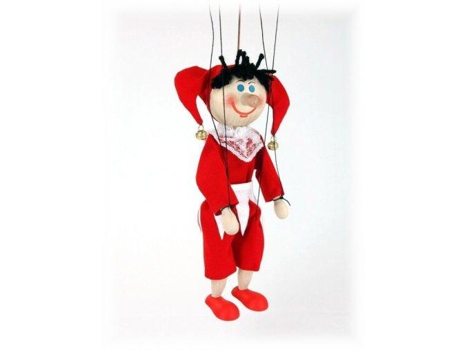 Dřevěná loutka - hračka ze dřeva - Kašpárek bílý pásek