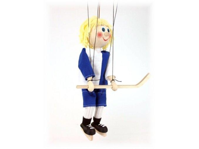 Dřevěná loutka - hračka ze dřeva - Hokejista modrý