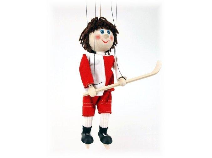 Dřevěná loutka - hračka ze dřeva - Hokejista červený
