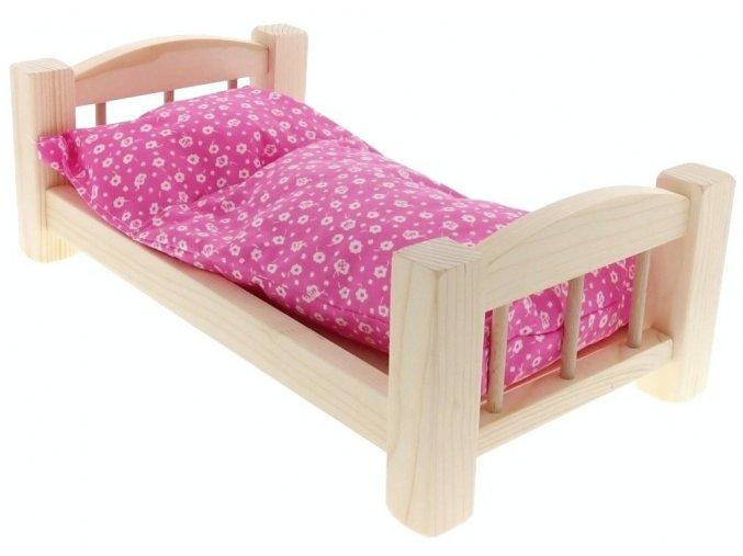Postýlka malá s peřinkou a polštářem hračka ze dřeva