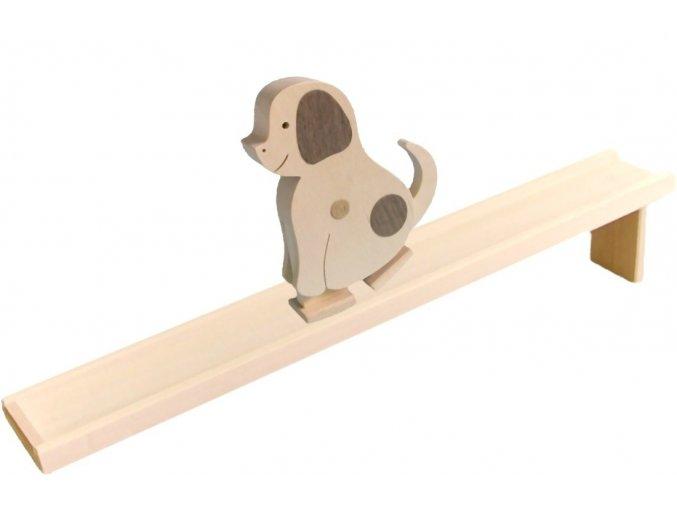 Chodící hračka ze dřeva - Pes natur