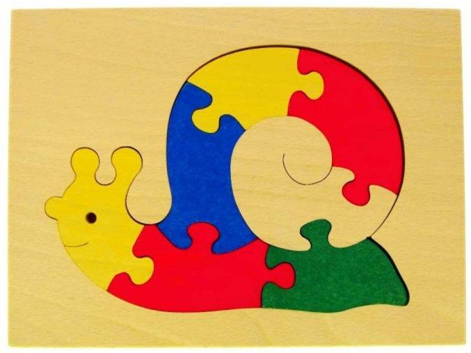Puzzle na desce hračka ze dřeva - Šnek