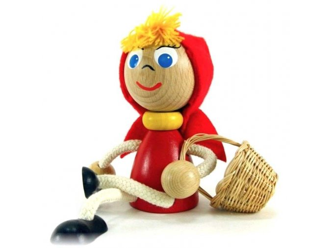 Sedací figurka hračka ze dřeva - Červená karkulka