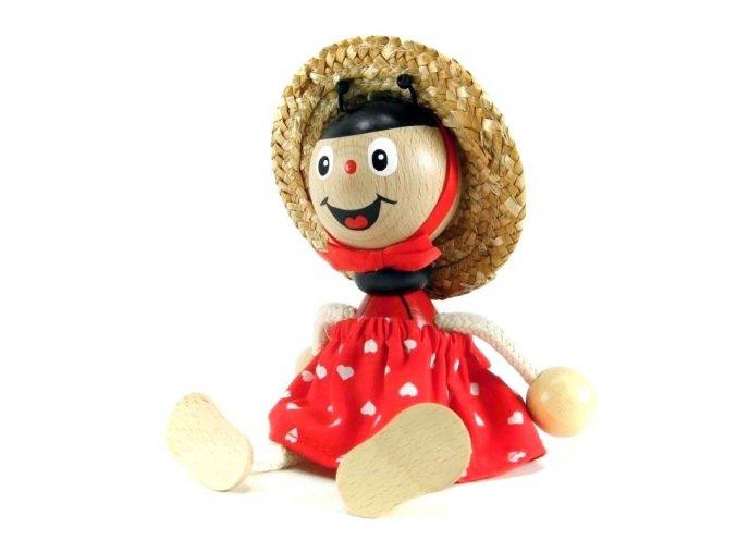 Sedací figurka hračka ze dřeva - Beruška oblečená