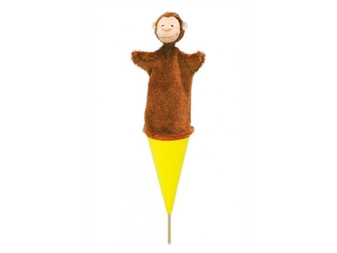 Velký kornoutový maňásek - Opice - hračka z textilu