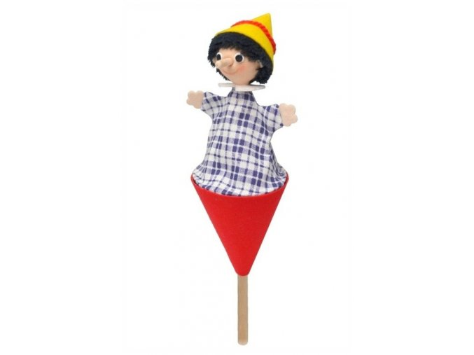 Malý kornoutový maňásek - Kluk s dlouhým nosem - hračka z textilu