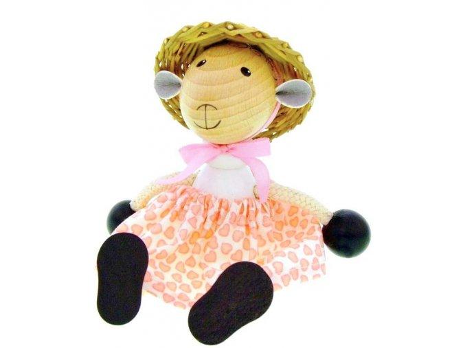 Sedací figurka hračka ze dřeva - Ovce oblečená