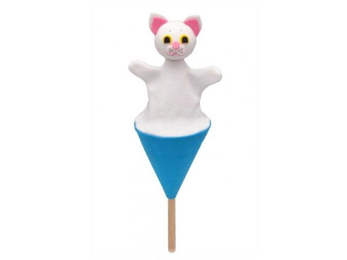 Malý kornoutový maňásek - Kočička bílá - hračka z textilu