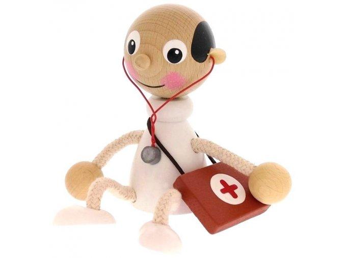 Sedací figurka hračka ze dřeva - Doktor