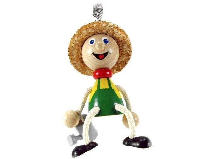 40251 (1) figurka na pruzine ze dreva zahradnik pro deti