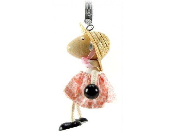 45032 (1) figurka na pruzine ze dreva ovce oblecena pro deti
