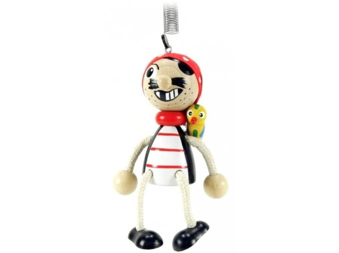 50202 (5) figurka na pruzine ze dreva pirat s papouchem pro deti