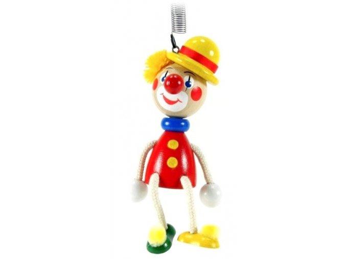 50247 (3) figurka na pruzine ze dreva klaun se zlutou burinkou pro deti