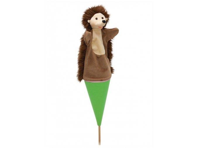 Velký kornoutový maňásek Ježek - hračka z textilu