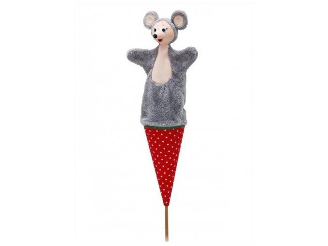 Velký kornoutový maňásek Myška - hračka z textilu