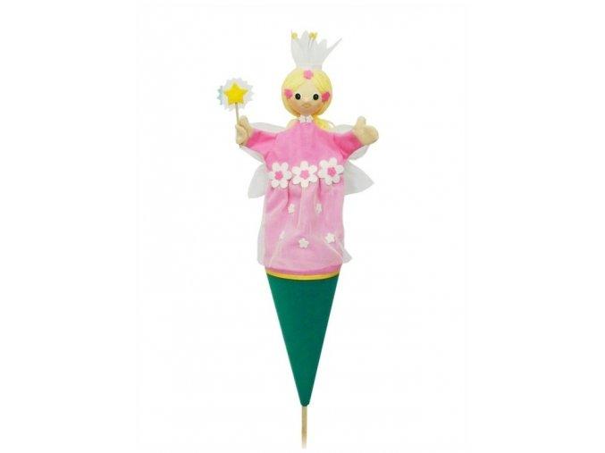Velký kornoutový maňásek Víla - hračka z textilu