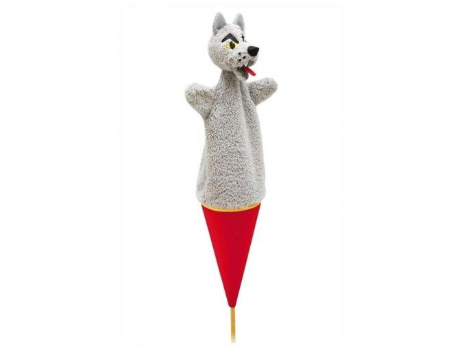 Velký kornoutový maňásek Vlk - hračka z textilu