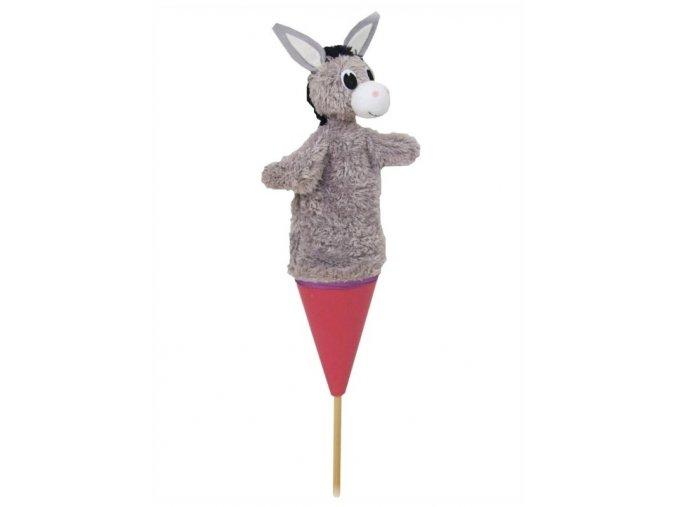Střední kornoutový maňásek Oslík - hračka z textilu