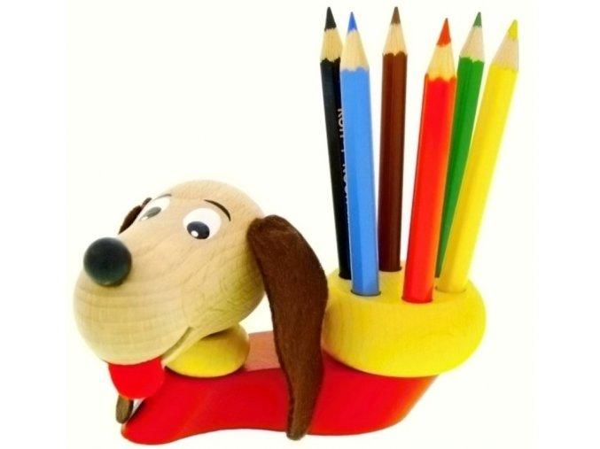 Stojánek na tužky hračka ze dřeva Pes Rick