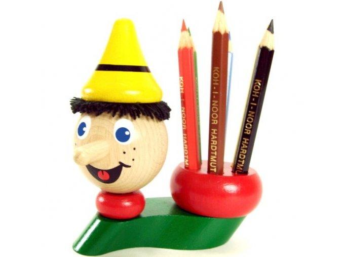 Stojánek na tužky hračka ze dřeva Pinochio
