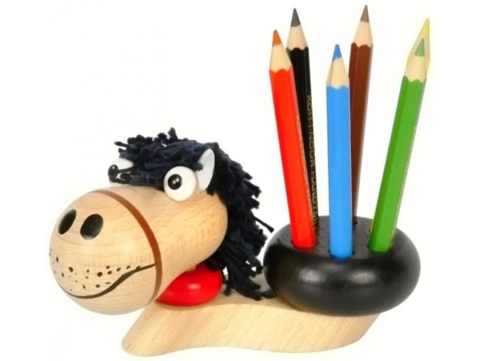 Stojánek na tužky hračka ze dřeva Kůň Luke
