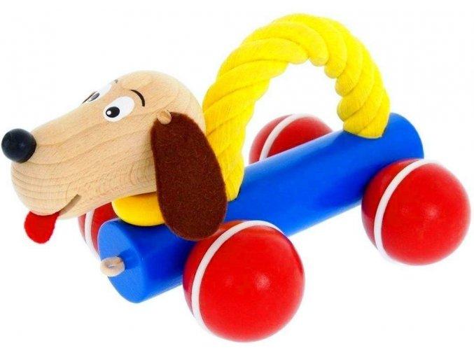 Pes s lanem hračka ze dřeva Oscar