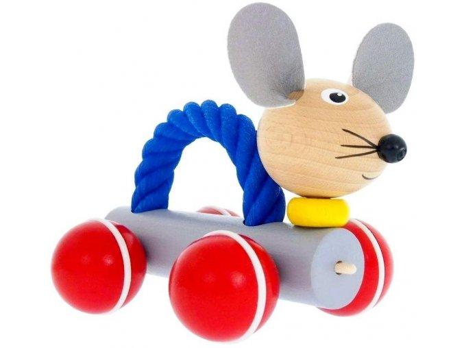 Myš s lanem hračka ze dřeva Pippa