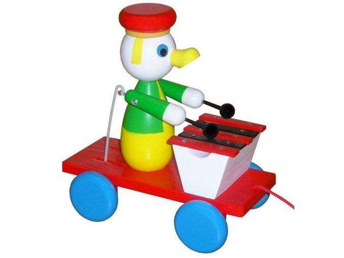 Tahací kačer s xylofonem hračka ze dřeva - barevný