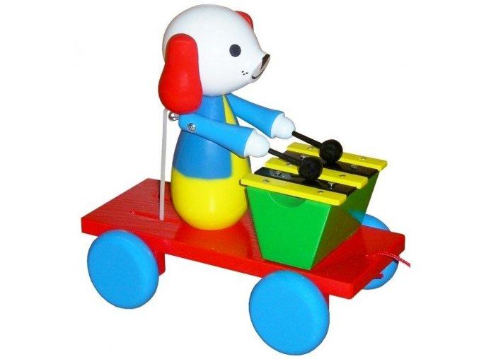 Tahací Pes s xylofonem hračka ze dřeva - barevný