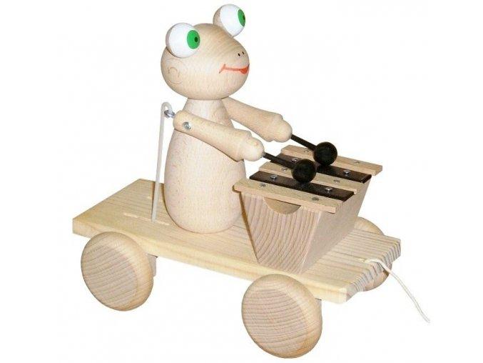 Tahací Žabka s xylofonem hračka ze dřeva - natur