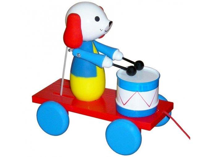 Tahací Pes s bubnem hračka ze dřeva - barevný