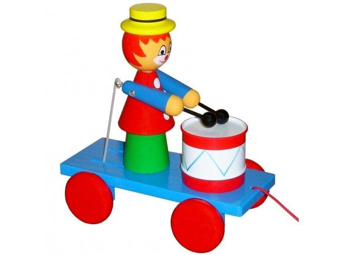 Tahací Klaun s bubnem hračka ze dřeva - barevný