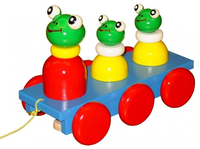 Tahací tři Žabky hračka ze dřeva - barevné