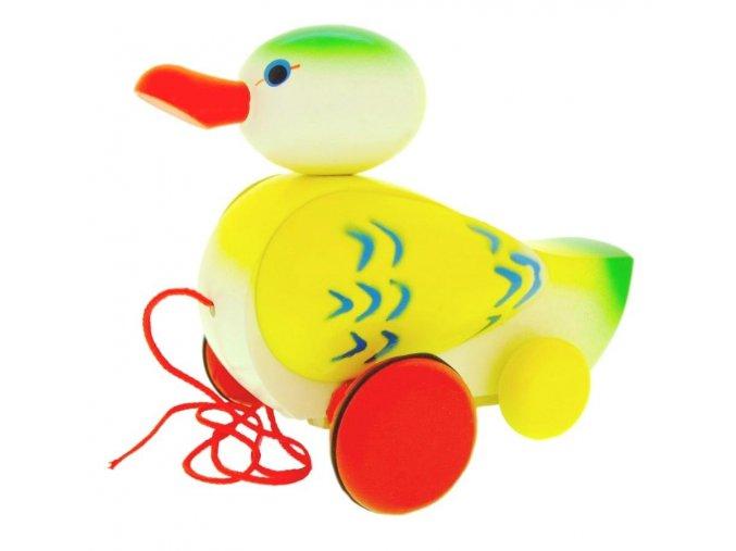 Tahací Kačer hračka ze dřeva - barevný