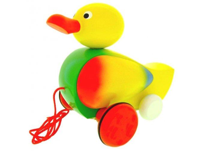 Tahací Kačer hračka ze dřeva - žlutý
