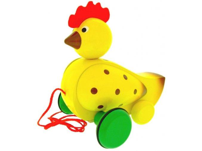 Tahací Slepice hračka ze dřeva - barevná