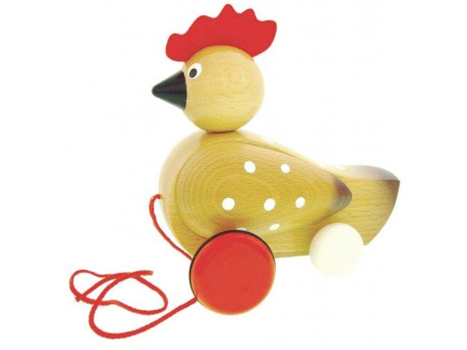 Tahací Slepice hračka ze dřeva - lakovaná