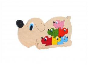 Puzzle -hračka ze dřeva Psi 7 ks