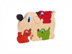 Puzzle -hračka ze dřeva Psi 4 ks