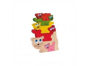 Puzzle pyramida hračka ze dřeva - Kočky 6 ks