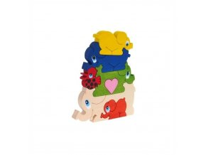 Puzzle pyramida hračka ze dřeva  - Sloni 7 ks