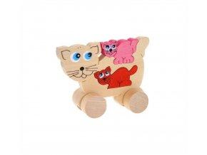 Puzzle na kolečkách hračka ze dřeva - Kočka