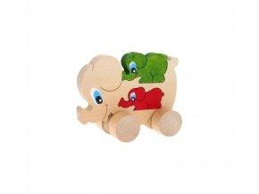 Puzzle na kolečkách hračka ze dřeva - Slon