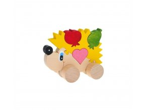Puzzle na kolečkách hračka ze dřeva - Ježek