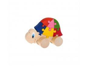Puzzle na kolečkách hračka ze dřeva - Želva