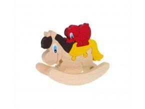 Puzzle - Houpací Koník hračka ze dřeva 2 ks