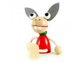 Sedací figurka hračka ze dřeva - Osel