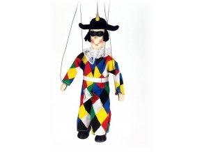 Dřevěná loutka - hračka ze dřeva - Harlekýn