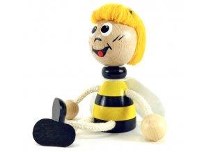 Sedací figurka hračka ze dřeva - Včelka